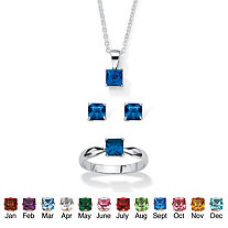 Princess-Cut Simulated Birthstone 3-Piece Pendant Necklace, Stud Earrings and Ring Set in Sterling Silver 18""