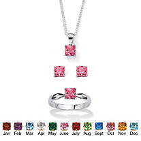 SETA JEWELRY Princess-Cut Simulated Birthstone 3-Piece Pendant Necklace, Stud Earrings and Ring Set in Sterling Silver 18