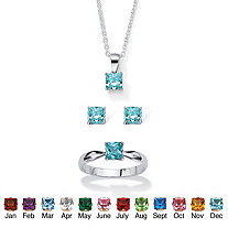 Princess-Cut Birthstone 3-Piece Pendant Necklace, Stud Earrings and Ring Set in Sterling Silver 18""