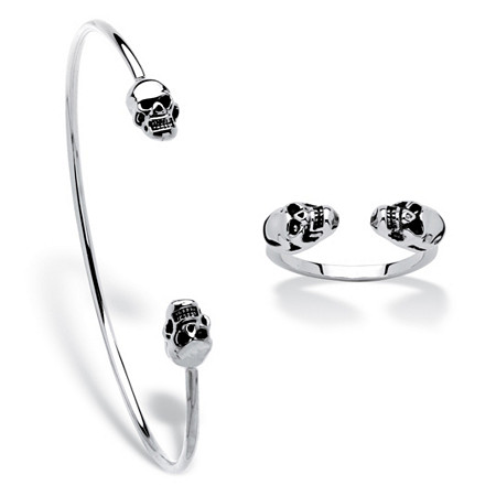 Polished Twin Skulls 2-Piece Open Cuff Bangle Bracelet and Ring Set Platinum-Plated 7.5