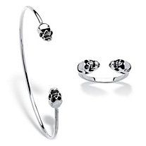 Polished Twin Skulls 2-Piece Open Cuff Bangle Bracelet and Ring Set Platinum-Plated 7.5""