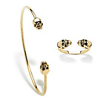 Polished Twin Skulls 2-Piece Open Cuff Bangle Bracelet and Ring Set in Gold Tone 7.5""