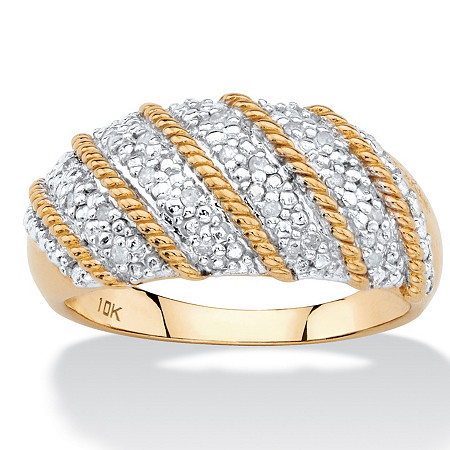 1/10 TCW White Diamond Pave-Style Diagonal Row Dome Ring in Solid 10k Yellow Gold at PalmBeach Jewelry