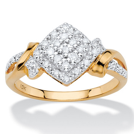 1/5 TCW White Diamond Pave-Style Squared Cluster Ring in Solid 10k Yellow Gold at PalmBeach Jewelry