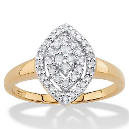 1/4 TCW White Diamond Pave-Style Marquise-Shaped Cluster Ring in Solid 10k Yellow Gold at PalmBeach Jewelry
