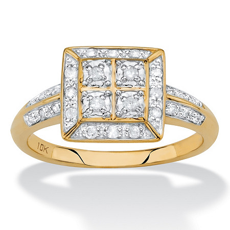 1/4 TCW White Diamond Square Halo Ring in Solid 10k Yellow Gold at PalmBeach Jewelry