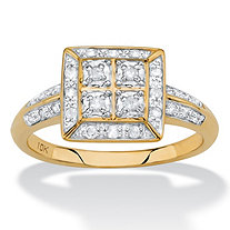 SETA JEWELRY 1/4 TCW White Diamond Square Halo Ring in Solid 10k Yellow Gold