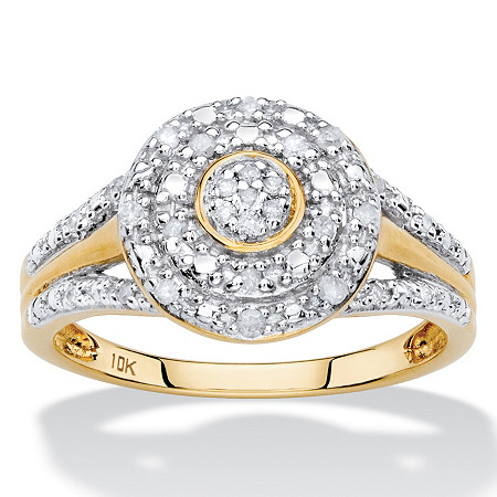 1/7 TCW White Diamond Pave-Style Double Halo Ring in Solid 10k Yellow Gold at PalmBeach Jewelry