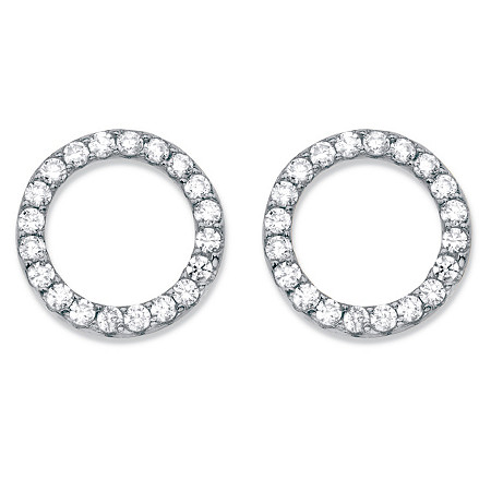 Round Cubic Zirconia Sterling Silver Circle Button Earrings (.28 cttw) at PalmBeach Jewelry