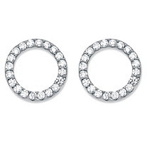 Round Cubic Zirconia Sterling Silver Circle Button Earrings (.28 cttw)