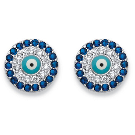 Round Simulated Blue Sapphire Cubic Zirconia Sterling Silver Halo Stud Earrings (.27 cttw) at PalmBeach Jewelry