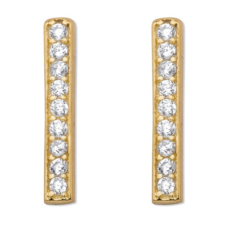 Round Cubic Zirconia 14k Gold over Sterling Silver Bar Drop Earrings 1/2