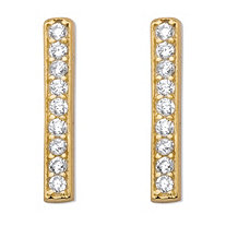 "Round Cubic Zirconia 14k Gold over Sterling Silver Bar Drop Earrings 1/2"" (.09 cttw)"