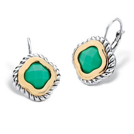 Princess-Cut Bezel-Set Green Crystal Two-Tone Silvertone and Gold Tone Rope Halo Drop Earrings at PalmBeach Jewelry