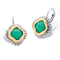 Princess-Cut Bezel-Set Green Crystal Two-Tone Silvertone and Gold Tone Rope Halo Drop Earrings