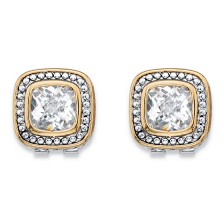 Cushion-Cut Cubic Zirconia Antiqued Silvertone and Goldtone Studded Halo Stud Earrings (3.24 cttw) at PalmBeach Jewelry
