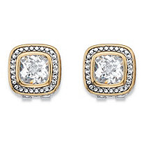 Cushion-Cut Cubic Zirconia Antiqued Silvertone and Goldtone Studded Halo Stud Earrings (3.24 cttw)