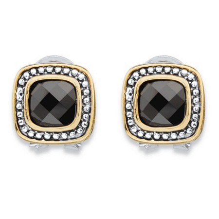 Cushion-Cut Black Cubic Zirconia Antiqued Silvertone and Goldtone Studded Halo Earrings (3.24 cttw) at PalmBeach Jewelry