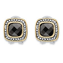 Cushion-Cut Black Cubic Zirconia Antiqued Silvertone and Goldtone Studded Halo Earrings (3.24 cttw)