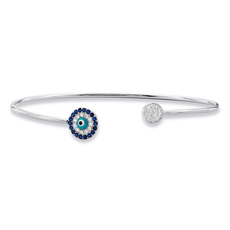 Simulated Blue Sapphire and White Cubic Zirconia Sterling Silver Cuff Bangle Bracelet 7