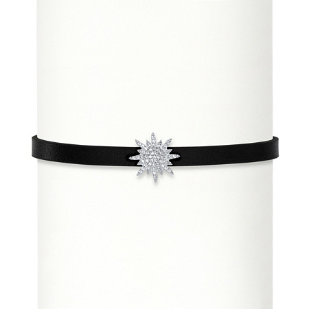 .11 TCW Cubic Zirconia Starburst Black Leather Strand Bracelet with Lobster Clasp in Sterling Silver 7
