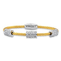 "Cubic Zirconia 14k Gold-Plated and Silvertone Barrel Bead Twisted Cable Bracelet 7"" (1.60 cttw)"