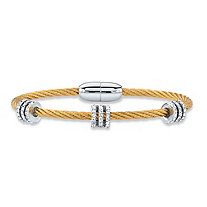 "Cubic Zirconia Silvertone and Gold Tone Barrel Bead Magnetic Twisted Cable Bracelet 7"" (.72 cttw)"