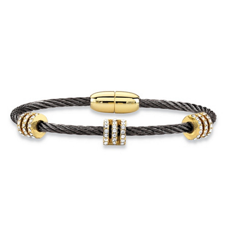 Cubic Zirconia Gold Tone and Black Ruthenium-Plated Barrel Bead Magnetic Twisted Cable Bracelet 7