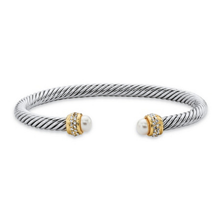 Cubic Zirconia and Simulated Pearl Cable Bracelet .15 TCW in 14k Gold-Plated and Silvertone 7.5