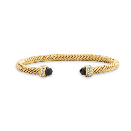 Black and White Cubic Zirconia 14k Yellow Gold-Plated Open Cuff Bangle Bracelet 7.5