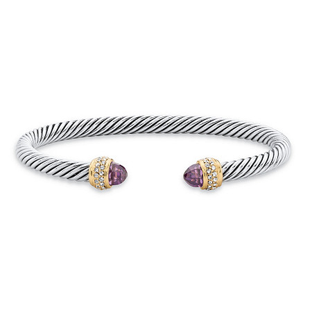 Purple Simulated Amethyst Cubic Zirconia 14k Gold-Plated Open Cuff Bangle Bracelet 7.5