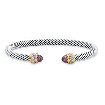 "Purple Simulated Amethyst Cubic Zirconia 14k Gold-Plated Open Cuff Bangle Bracelet 7.5"" (2.11 cttw)"