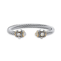 Cubic Zirconia 14k Yellow Gold-Plated and Silvertone Twisted Cable Bangle Bracelet 7.5