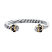 Black Onyx And CZ 14k Gold-Plated And Silvertone Twisted Cable Bracelet ONLY $19.88