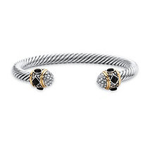 "Simulated Black Onyx and CZ 14k Gold-Plated and Silvertone Twisted Cable Bracelet 7.5"" (.24 cttw)"