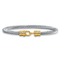 Two-Tone 14k Yellow Gold-Plated and Silvertone Fish Hook Twisted Cable Bangle Bracelet 7.5