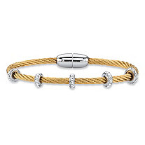 "Cubic Zirconia Silvertone and Gold Tone Magnetic Twisted Cable Rope Bangle Bracelet 7"" (1.19 cttw)"
