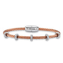 "Cubic Zirconia Silvertone and Rose Gold Tone Magnetic Twisted Cable Bangle Bracelet 7"" (1.19 cttw)"
