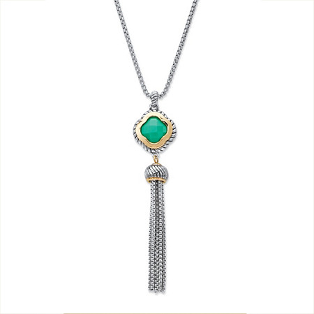 Princess-Cut Green Crystal Gold Tone and Silvertone Halo Tassel Fringe Necklace 30