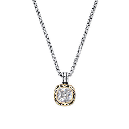"5.60 TCW Cubic Zirconia Gold Tone and Silvertone Studded Halo Pendant Necklace 16""-17.5"" at PalmBeach Jewelry"