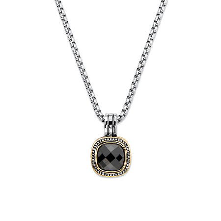 """5.60 TCW Black Cubic Zirconia Gold Tone and Silvertone Studded Halo Necklace 16""""-17.5"""" at PalmBeach Jewelry"""