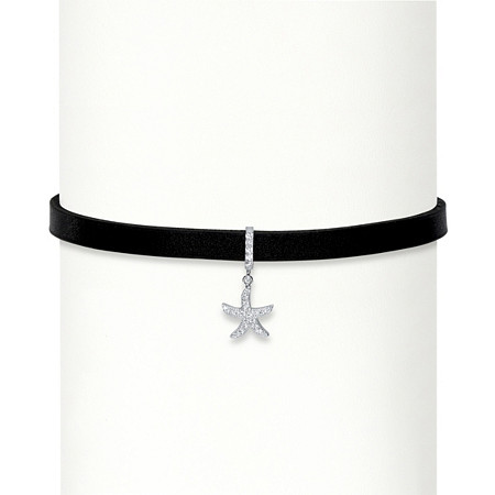 .25 TCW Cubic Zirconia Starfish Black Leather Choker Necklace in Sterling Silver 13