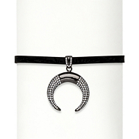 CZ Crescent Moon Black Suede Choker Necklace ONLY $14.95