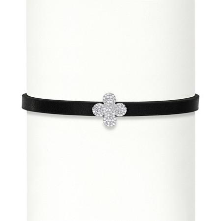 .24 TCW Cubic Zirconia Sterling Silver Fleur-de-Lis Black Leather Choker Necklace 12