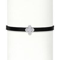 CZ Sterling Silver Fleur-De-Lis Black Leather Choker Necklace ONLY $11.95