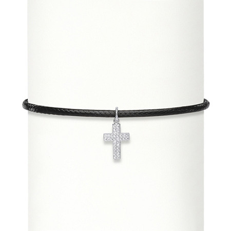 .17 TCW Cubic Zirconia Sterling Silver Cross Braided Black Rope Choker Necklace 13