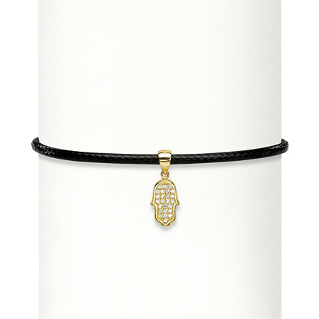 """Cubic Zirconia Hamsa 14k Gold over Sterling Silver Black Rope Choker Necklace 13""""-14.5"""" (.25 cttw) at PalmBeach Jewelry"""