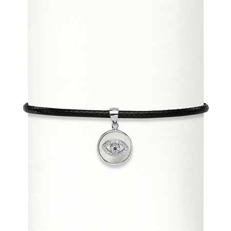 Cubic Zirconia Accent Evil Eye Charm Sterling Silver Braided Black Rope Choker Necklace 13