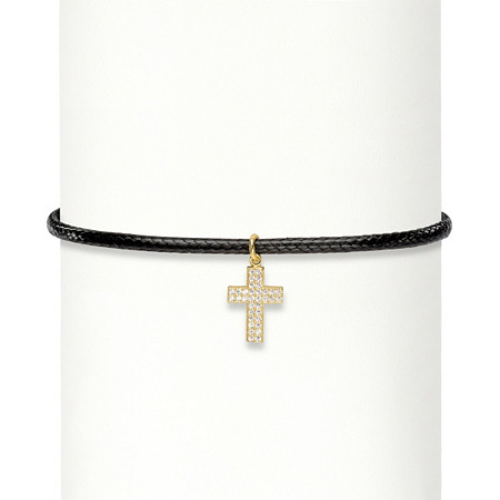 .17 TCW Cubic Zirconia Cross Charm 14k Gold over Sterling Silver Braided Black Choker Necklace 13