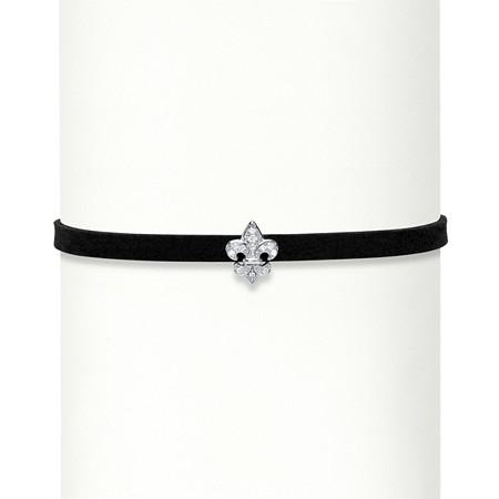 Cubic Zirconia Accent Fleur-de-Lis Charm Sterling Silver Black Suede Choker Necklace 13